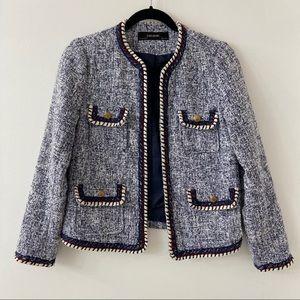 Zara Basic Blue Tweed Jacket - S